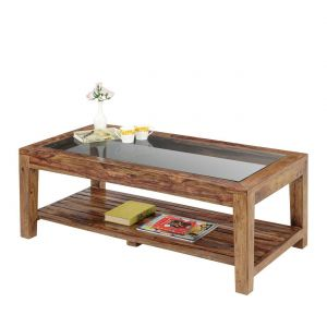 Inhouz Sheesham Wood Renitta Strip Coffee Table (teak Finish)