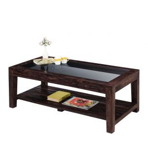 Inhouz Sheesham Wood Renitta Strip Coffee Table (walnut Finish)