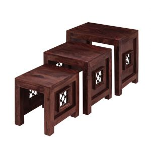 Inhouz Sheesham Wood Jali Nesting Stool Set (mahogany Finish)
