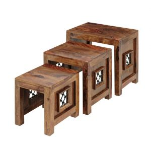 Inhouz Sheesham Wood Jali Nesting Stool Set (teak Finish)