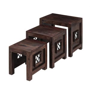 Inhouz Sheesham Wood Jali Nesting Stool Set (walnut Finish)