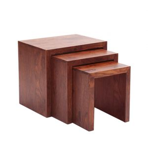 Pleasing Inhouz Sheesham Wood Rachel Nesting Stool Set Mahogany Finish Caraccident5 Cool Chair Designs And Ideas Caraccident5Info