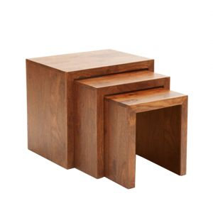 Inhouz Sheesham Wood Rachel Nesting Stool Set (teak Finish)