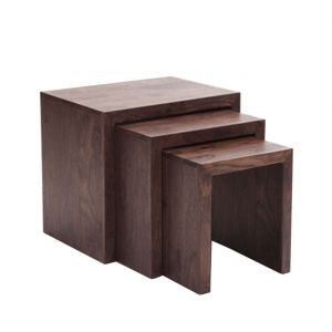 Inhouz Sheesham Wood Rachel Nesting Stool Set (walnut Finish)