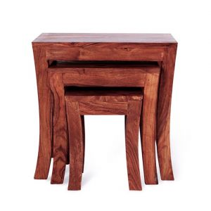 Inhouz Sheesham Wood Royal Arc Nesting Stool Set (mahogany Finish)