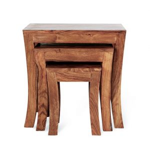 Inhouz Sheesham Wood Royal Arc Nesting Stool Set (teak Finish)