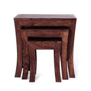 Inhouz Sheesham Wood Royal Arc Nesting Stool Set (walnut Finish)