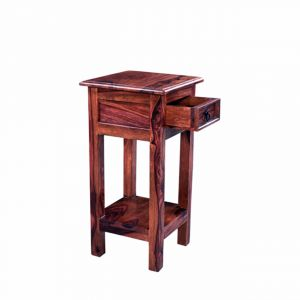 Inhouz Sheesham Wood Hello Happiness Phone Table (mahogany Finish)