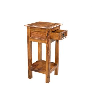 Inhouz Sheesham Wood Hello Happiness Phone Table (teak Finish)