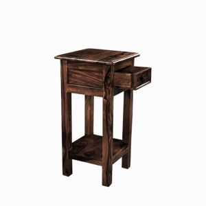 Inhouz Sheesham Wood Hello Happiness Phone Table (walnut Finish)