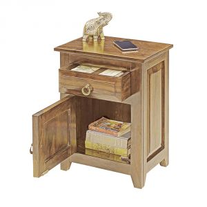 Inhouz Sheesham Wood Pannel Bedside Table (teak Finish)