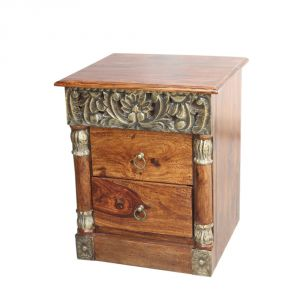 Inhouz Sheesham Wood Brass Carving Bedside Table (teak Finish)