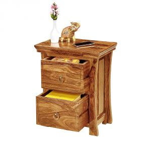 Inhouz Sheesham Wood Vikram Bedside Table (teak Finish)