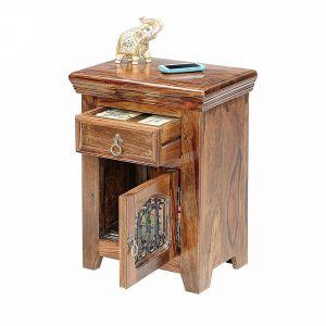 Inhouz Sheesham Wood Jali Bedside Table (Teak Finish)