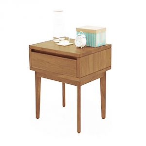 Inhouz Sheesham Wood Vherine Bedside Table (Teak Finish)
