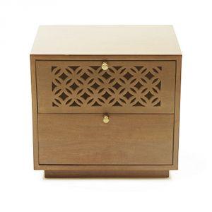 Inhouz Sheesham Wood Calar Bedside Table (Teak Finish)