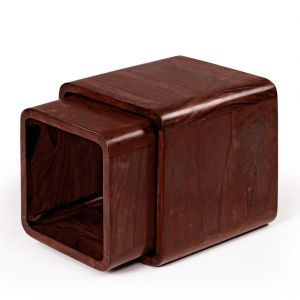 Inhouz Sheesham Wood ROM Nesting Stool Set (mahogany Finish)