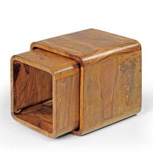Inhouz Sheesham Wood Rom Nesting Stool Set (Teak Finish)