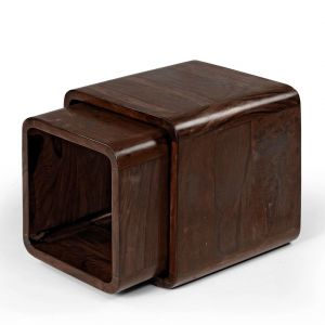 Inhouz Sheesham Wood ROM Nesting Stool Set (walnut Finish)