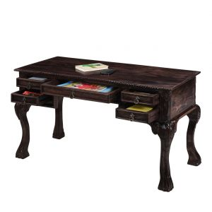Home Decor ,Kitchen  - Inhouz Sheesham Wood Victorious Study Table (Walnut Finish)