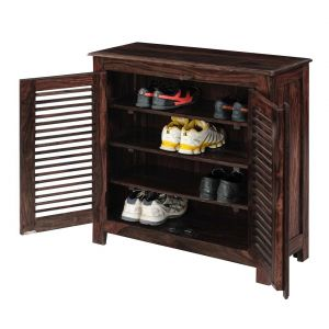 Inhouz Sheesham Wood Maccy Shoe Rack (walnut Finish)