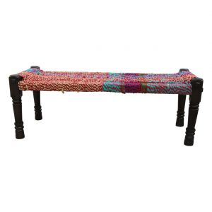 Inhouz Sheesham Wood Darsa Multicolour Rope Stool