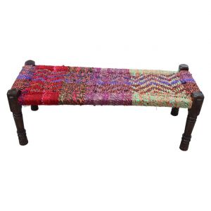 Inhouz Sheesham Wood Parior Multicolour Rope Stool