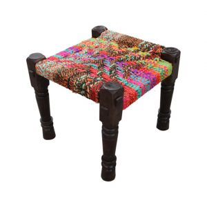 Inhouz Sheesham Wood Saproo Multicolour Rope Stool
