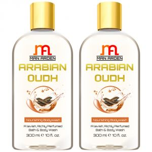 Man Arden Arabian Oudh Luxury Moisturising Shower Gel - A Lavish, Rich Bath And Body Wash - 300 Ml E 10 Fl Oz (pack Of 2)