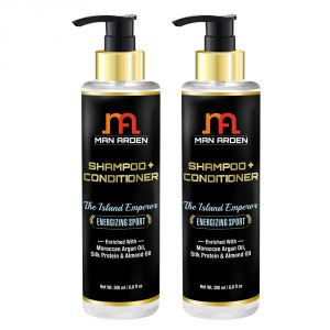 Man Arden Hair Shampoo + Conditioner - The Island Emperor (energizing Sport) - With Moroccan Argan Oil, Silk Protein & Almond Oil 200ml - Pack Of 2