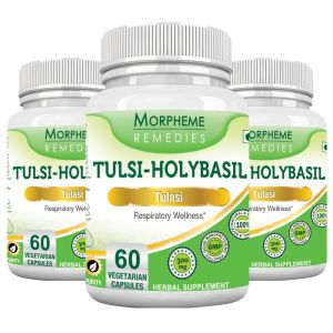 Morpheme Tulsi Holy Basil Caps- 500mg Extract - 60 Veg Caps - 3 Bottles