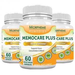 Morpheme Memocare Plus - 500mg Extract - 60 Veg Caps - 3 Bottles
