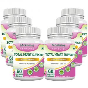 Morpheme Total Heart Support- 500mg Extract - 60 Veg Caps - 6 Bottles