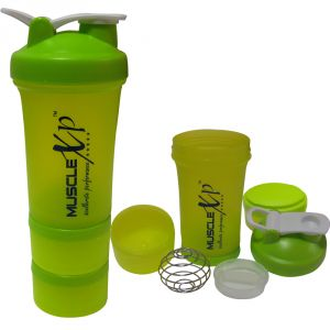 Musclexp Advancedstak Protein Shaker For Professionals (green & White) With Steel Ball - Design 13