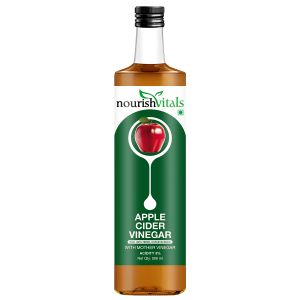 Nourishvitals Apple Cider Vinegar 500ml - With Mother Vinegar, Raw, Unfiltered & Undiluted