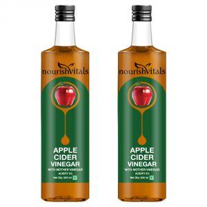 Vinegar - NourishVitals Apple Cider Vinegar 500ml - With Mother Vinegar, Raw, Unfiltered & Undiluted - 2 Bottles