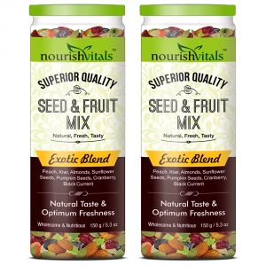 Nutty Snacks - NourishVitals Seed & Fruit Mix - Exotic Blend - Breakfast / Snacks Trail Mix 150 gm - Pack of 2