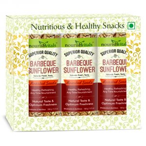 Nutty Snacks - NourishVitals Barbeque Sunflower Roasted Seeds (Superior Quality) - 150 gm - Pack of 3