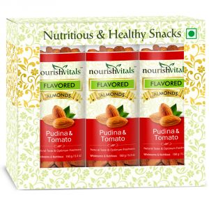 Dry Fruits - NourishVitals Roasted Almonds Pudina & Tomato Flavored - 150 gm - Pack Of 3