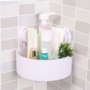 Toothbrush holders - Bathroom Organizer Shower Shelf Plastic Suction Cup Corner Storage Rack (Colour May Vary)