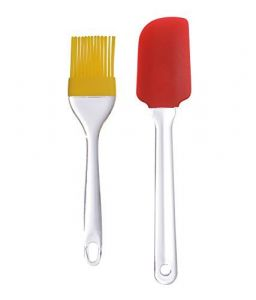 Silicone Basting Spatula And Brush Kitchen Oil Cooking Baking (Multi Color) - 1 Pair Set With Silicon Brush & Spatulat Set