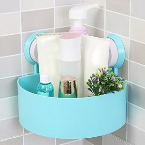 Bathroom Essentials - Plastic Suction Cup Bathroom Kitchen Corner Storage Box Rack Organizer Shower Shelf (Colour May Vary)