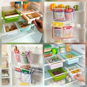 Combo Of 2 X Refrigerator Fridge Multi-partition Storage Rack    2 X Kitchen Refrigerator Storage Bag