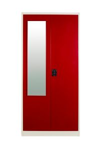 Bedroom Furniture - Panajoy- Two Door wardrobe with Mirror- Wine Red