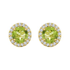 Silver Dew 925 Sterling Pure Silver Fancy Cz Screw Back Halo Peridot Earring In Rhodium Plated For Her Sde041per