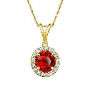 Garnet Halo Round Pendant For Ladies In 925 Pure Silver By Silver Dew Sdp013