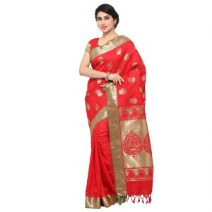 Varkala Silk Sarees Woven Self Designed Bright Red Art Silk Sarees With Blouse(awjb9101rdrd)