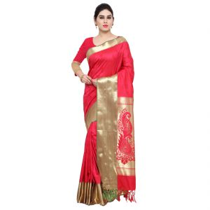 Varkala Silk Sarees Woven Self Designed Gajari Art Silk Sarees With Blouse(awjp7101rnrd)