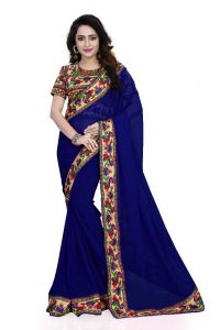 Creative Fashion Ayesha Takia Bollywood Replica Blue Checks Printed Saree (product Code - A3_blue-checks)