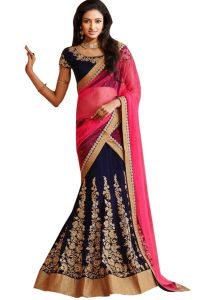 Bollywood replica sarees and lehengas - Palash fashion's Royal Looking  Navy Blue Color Velvet Designer Wedding Lehengas (Product code - PLS-STZ-7071)